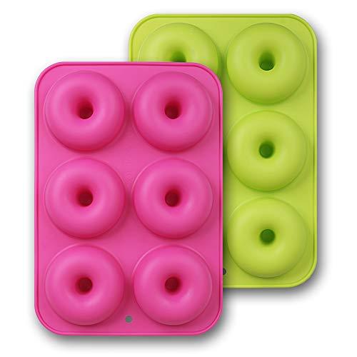 homEdge Silikon-Donut-Formen, 2 Stück, antihaftbeschichtet, lebensmittelecht, für Donut-Backen, Grün und Rosa