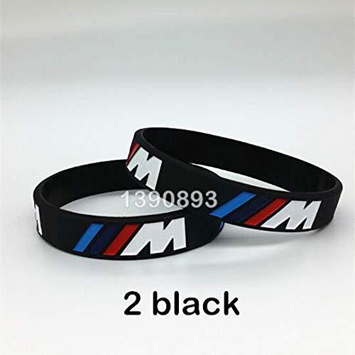 SDFASV 2 Piezas Grabado Holograma Pulsera /// M Sport M Power Negro Blanco Brazalete de Pulsera de Silicona para BMW Club Fans M3 M5 M6 3/5/7 Serie 2 Negro