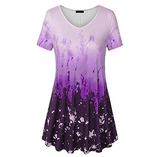 Camisa Mujer Blusa Mujer Manga Corta Verano Degradado Color Suelto Cómodo Estampado Elegante Casual Clásico Todos Los Partidos Trabajos Diarios Mujer Tops C-Purple XL