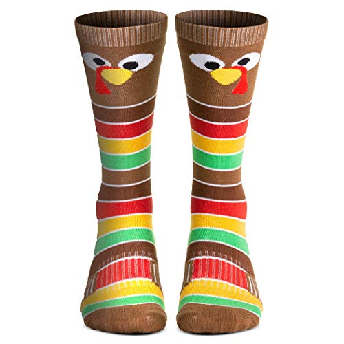 Holiday Woven Knee-High Socks   Thanksgiving Goofy Turkey With Stripes   Small