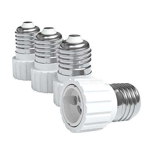 4x Lampensockel Adapter – Konverter für E27 Fassung auf GU10 | Lampenadapter für LED-/Halogen- und Energiesparlampen | Sockeladapter von EAZY CASE, weiß