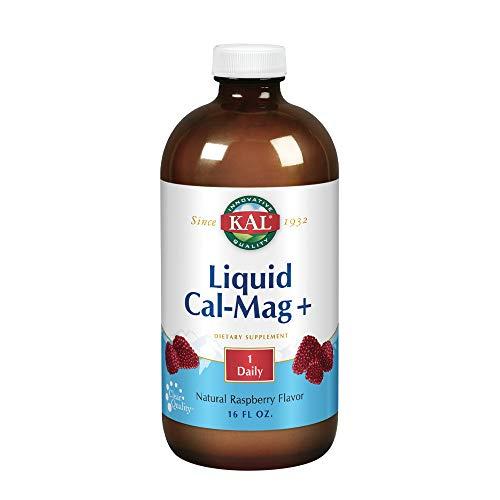 KAL Liquid Cal-Mag+ Vitamin D-3 | Natural Raspberry Flavor | Healthy Bones, Muscle & Heart Support | 30 Servings | 16 oz