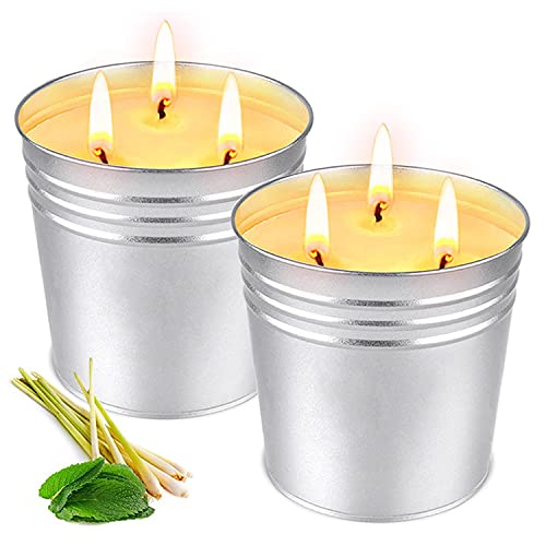 OFUN Citronella Candles Outdoor Large, 2 x 17 Ounce Outdoor Candles 3 Wick Large Garden Candles with Citronella Oil Soy Candles - 200 Hours Burn
