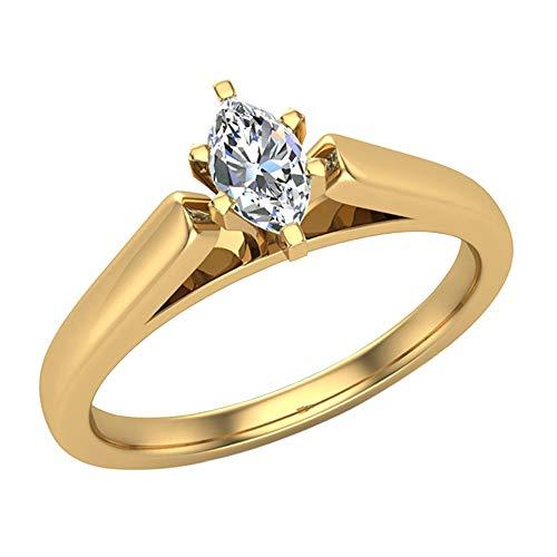Glitz Design - 14 Kt Gelbgold Marquiseschliff Markise G-H Weißer Diamant
