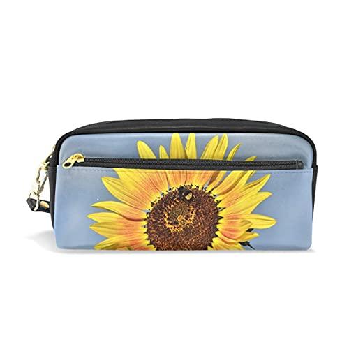 AOOEDM Federmäppchen Stilvoller Druck Sonnenblume Hummel Pflanze Gelbe Blumen Gelbes Blütenkunstmuster Große Kapazität Stifttasche Schminktasche Langlebiges Studentenbriefpapier Zwei Taschen mit dopp