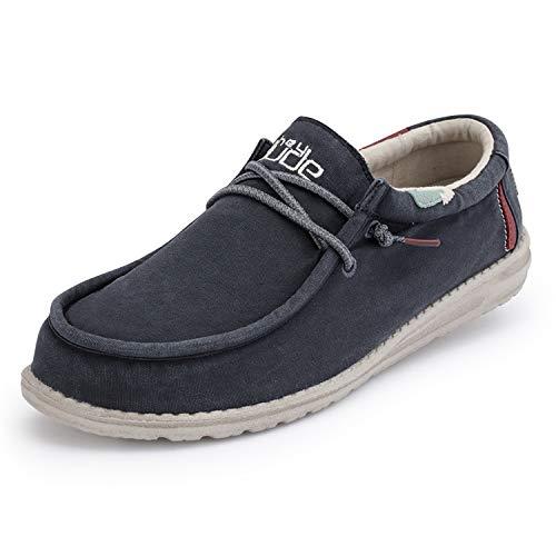Hey Dude Wally Washed – Zapatos de Hombre Informales – Blue Space – Zapatos Cómodos Muy Ligeros para Hombre – Plantilla Ergonómica de Espuma Viscoelástica – Diseñados en Italia EU 42