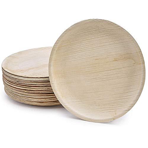 Mefeny Juego de Platos Biodegradables Desechables para 25 Invitados Cubiertos Juego de Vajilla de Bambú Resistente EcolóGico para Acampar/Fiestas