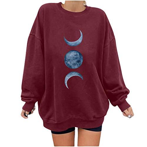 Finebo Camisa de Cuello Redondo para Mujer, pulóver de otoño, Camisetas Sueltas Informales, Sudadera de Manga Larga con Estampado de Luna, Blusa, Tops, Camiseta del día de San Valentín