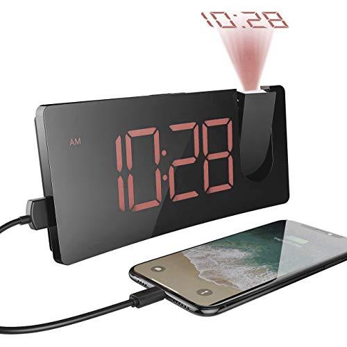 【Versione Semplice】Sveglia con Proiettore, Mpow Sveglia Digitale da Comodino, Sveglia Digitale, Sveglia da Comodino, 5'' Display LED con Dimmer, 3 Luminosità, Grandi Numeri Rossi, Snooze, Porta USB (Marrone)