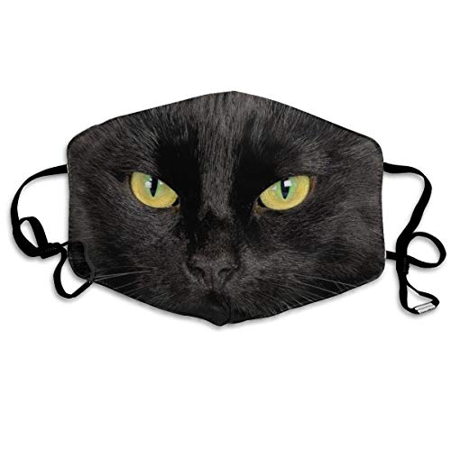 Garde Art Studio Comfortable Adjustable Cool Black Cat Print Facial Decorations for Women and Men