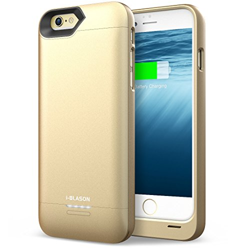 i-Blason Battery Case Designed for iPhone 6 Plus, External Protective Battery charger Case for All Versions of iPhone 6 / 6S Plus [Ultra Slim] (Lightning Connector Output, MicroUSB Input) (Black/Gold)