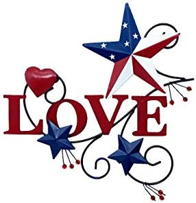 4homemax Primitive Country Metal Hanging Wall Art Sculpture Metal Hearts and Americana Stars product image