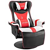 Furniwell Gaming Recliner Chair Racing Style Gaming Ergonomic High Back Computer Chair Swivel Game Reclining Chair Adjustable Backrest and Footrest w/Cup Holder (Red/White)