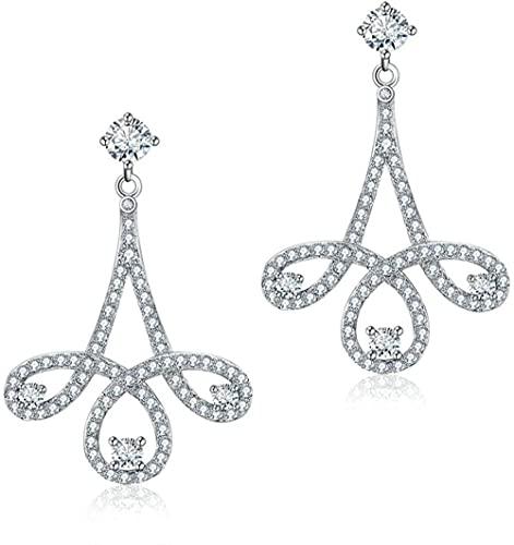 Novelty Jewelry-S925 - Pendientes colgantes de plata de ley para mujer, diseño de flor de plata y circonita cúbica