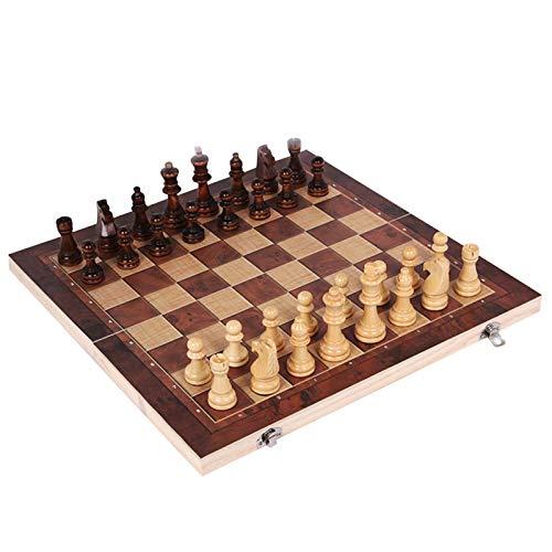 Schachspiel | Schachspiel aus Holz Handgefertigt | Hochwertiges Schachbrettspiel | Klappbar Wooden Chess Set | Schachspiel 3 in 1 Schach Dame Backgammon für Kinder & Erwachsene (2XL: 44X44cm)