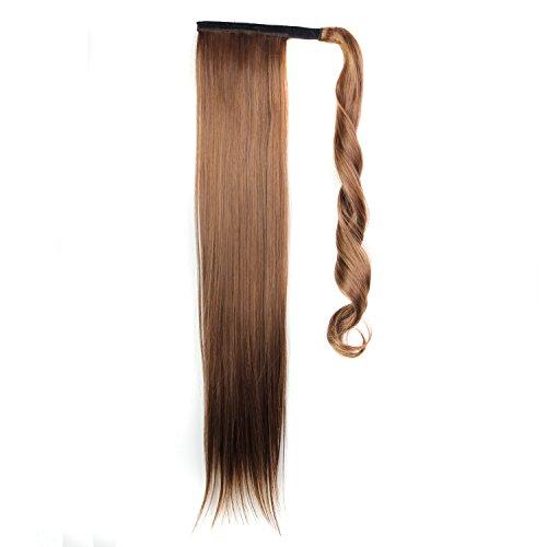 Fouriding Perruque Femme Cheveux Longs Droite Queue de Cheval Cheveux Synthetiques avec Pinces Ponytails a Cheveux Longue Extension de Cheveux 24 Pouc