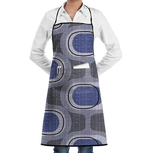 Tweedy Orbs Indigo Mid Century Delantal de chef moderno para mujeres y hombres, delantal de cocina divertido delantal de barbacoa, delantal ajustable con bolsillos