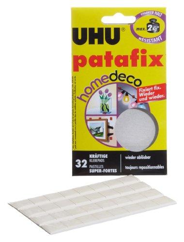UHU patafix deco, Wieder ablösbare und wieder verwendbare Klebepads, Klebekraft bis zu 2 kg, 32 Stück