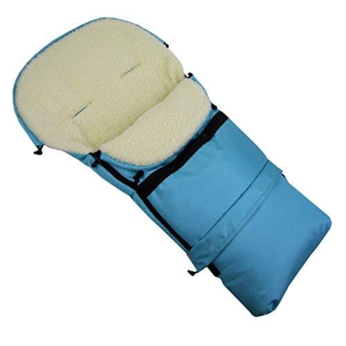 Rawstyle 3 in 1 Winterfußsack (Türkis) 110cm & 85cm **12 MOTIVE** aus LAMMWOLLE für Kinderwagenschale, Kinderwagen, Schlitten und Buggys Fußsack Wolle