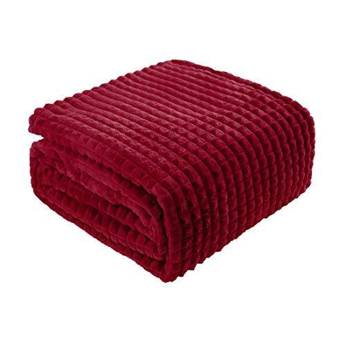 N/A Doppeldecke aus robustem Flanell Molton, dekorative Decke weich und leicht mit Gittermuster, Mikrofaserdecke für Sofa und Bett, 59 x 78 Zoll, Bordeaux