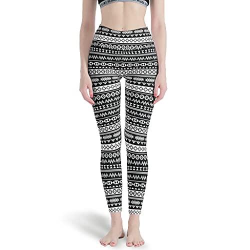 LPLoveYogaShop Leggings para mujer, diseño azteca, tribal, color blanco y negro, de secado rápido, para yoga, para el tiempo libre blanco L delgado