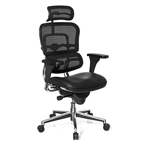 HJH Office 652986 Bürostuhl, Chefsessel Ergohuman Base One Sitz Leder / Rücken Netz schwarz