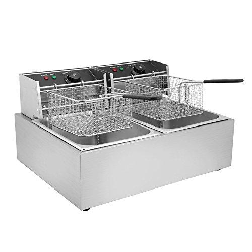 Oldriver 5000W Friggitrice Elettrica Professionale Capacità 12L Friggitrice Patatine Fritte Friggitrice Per Cucinare In Casa O Negozio Con Doppia Vasche