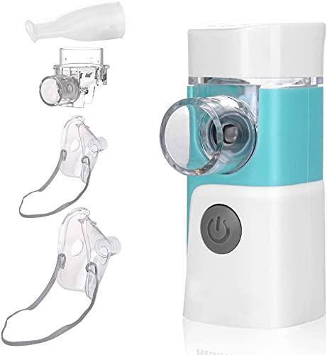 Tragbarer Inhalator und Leiser Inhalationsgerät mit 2 Masken und 1 Düse für Erwachsene und Kinder wirksame Behandlung von Atemwegserkrankungen, wiederaufladbarer elektronischer USB-Vernebler