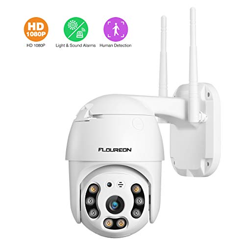 FLOUREON 1080P Dome IP Kamera WLAN Überwachungskamera Netzwerkkamera, Outdoor IP Cam, Nachtsicht Bewegungsalarm, unterstützt Micro SD Karte (N817)