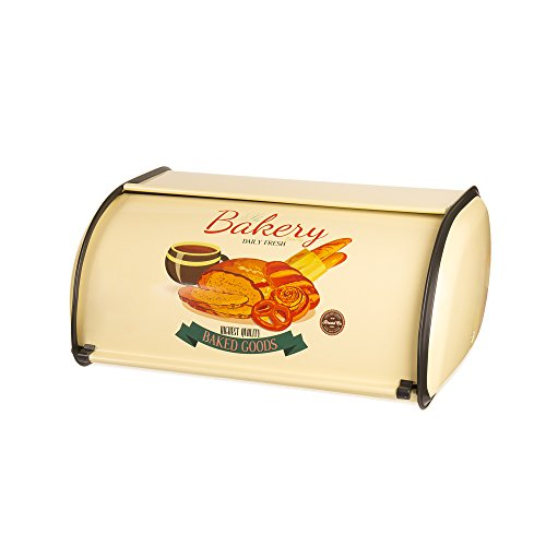 X459 Yellow Metal French Vintage Bread Box/Bin/kitchen Storage Containers/Home KitChen Gifts with Roll Top Lid (yellow)