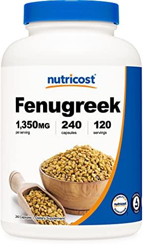 of fenugreek capsules dec 2021 theres one clear winner Nutricost Fenugreek Seed 1350mg, 240 Capsules - Gluten Free, Non-GMO, 675mg Per Capsule
