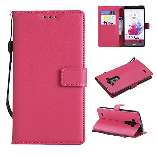 Snow Color LG G3 Hülle, Premium Leder Tasche Flip Wallet Case [Standfunktion] [Kartenfächern] PU-Leder Schutzhülle Brieftasche Handyhülle für LG G3 (D855) - COMS020808 Rosa Rot