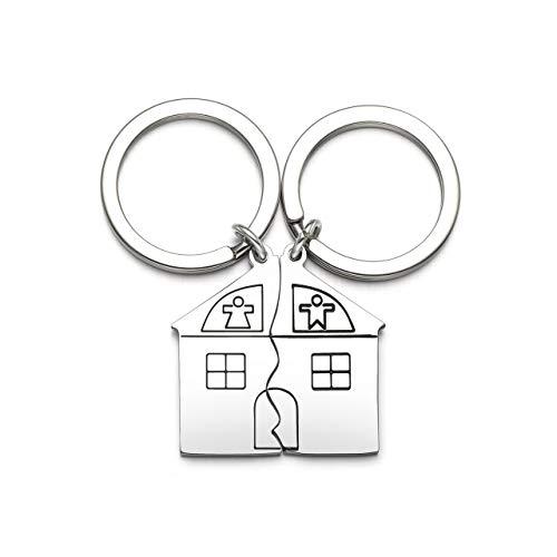 Jovivi 2PCS Porte-clés Couple Cadeau Créatif Puzzle Maison...