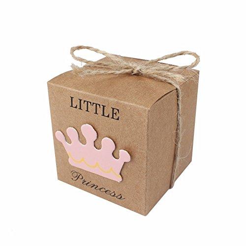 JZK 50 x Little Princess Marrone Carta Kraft Scatola portaconfetti con spago Iuta scatolina bomboniara segnaposto per Festa Battesimo Nascita Comunione Compleanno Bimba Bambina Femminile