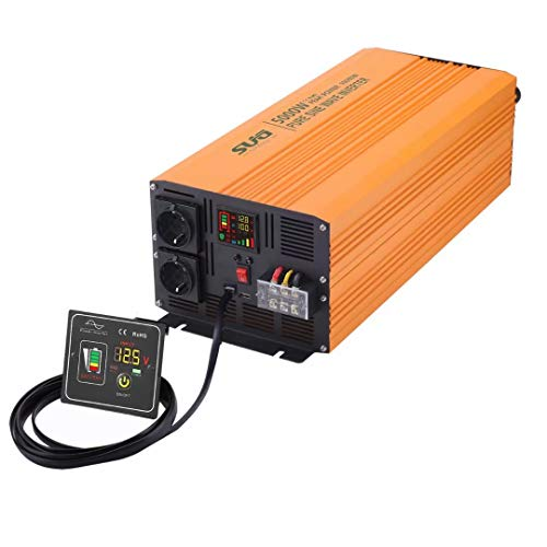 Sug 5000W DC 24V auf AC 220V 230V Wechselrichter Reiner Sinus Spitzenwert 10000W Spannungswandler mit Fernbedienung Power Inverter Pure Sine Wave