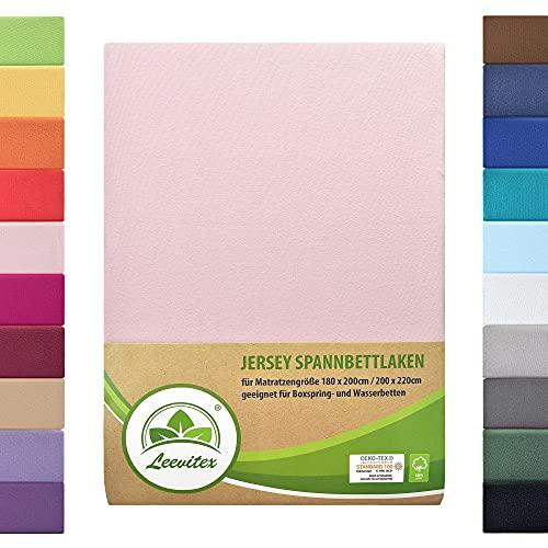 leevitex Colours SPANNBETTLAKEN   WASSERBETTEN & BOXSPRINGBETT   SPANNBETTUCH   ÖKO-TEX   180x200 – 200x220 cm   100% Jersey-Baumwolle   150 g/m²   40 cm Steg   Rosa