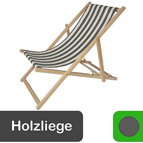 Decorwelt Zonneligstoel, tuinstoel, verstelbaar, klapstoel, hoge rugleuning, hout grijs