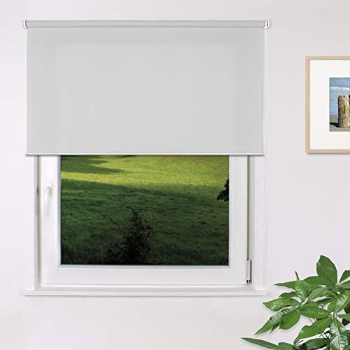 Fensterdecor Fertig Sichtschutz-Rollo, Tageslicht-Rollo mit praktischem Seitenzug für stufenloses Verstellen, Blickschutz-Rollo in Grau, lichtdurchlässig und Blickdicht, 180 x 180 cm