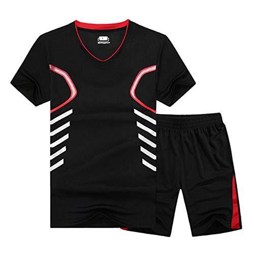 Miwaimao Sommer Anzüge Herren Casual Kurzarm T-Shirt Zwei Anzüge und Sportswear Herren Casual Herren Kurz Hosen Anzug Sportswear Anzug Gr. XXXXL, schwarz / rot