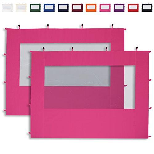 TOOLPORT 2 Seitenteile mit Panoramafenstern in pink für 3x3 m Falt Pavillon Faltpavillon Eco Aluminium von PROFIZELT24