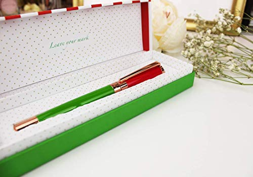 FILOU Bolígrafo roller recargable para mujer, con caja de regalo a juego, tinta azul, detalles en dorado rosa grabados, acabado premium, Modelo Fresh Garden