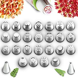 COOK ARTY Russian Piping Tips for Cake & Cupcake Icing Decorating Supplies Set 54 Pcs Decoration tools 25 Pc Extra Large Piping Nozzles Leaf Tip 3 Coupler Reusable Bags & Flower Chart Storage Box