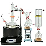 VEVOR 5L Distillation Apparatus Max.380°C Short Path Distillation Kit with Heating Mantle and Magnetic Stirring 60-2300rpm Lab Distillation Glassware Apparatus (Black)