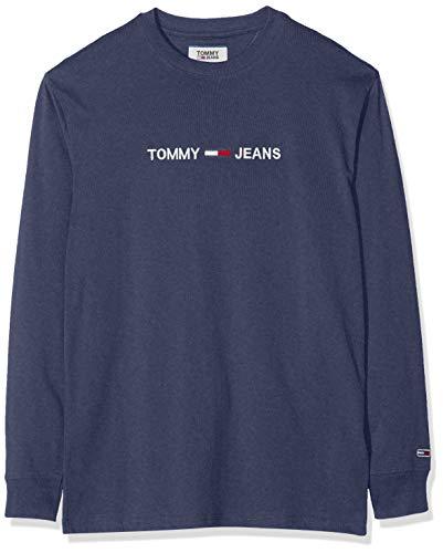 Tommy Jeans Herren TJM Longsleeve SMALL Logo Tee Sporttop, Blau (Black Iris Cbk), Large (Herstellergröße:L)