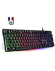 ImpIRE GAMING – K300 Clavier Gamers – 105 Touches Semi-Mécaniques – Rétro-Eclairage LED RGB – 19 Touches Anti-Ghosting – 12 Raccourcis Multimédia – USB-filaire