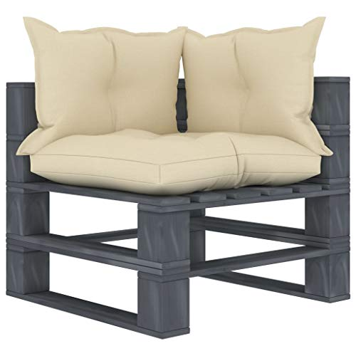 Extaum Sofá esquinero de madera para jardín o balcón, con cojín de color crema, de 70 x 67,5 x 60,8 cm