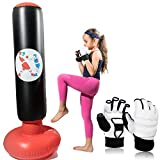 Inflatable Punching Bag for Kids Women Men This Workout Equipment INCLUDE a pair of White Martial Arts Training Gloves for Practicing Boxing Karate MMA. 60Inch Tall. Fitness Exercise to Release Energy