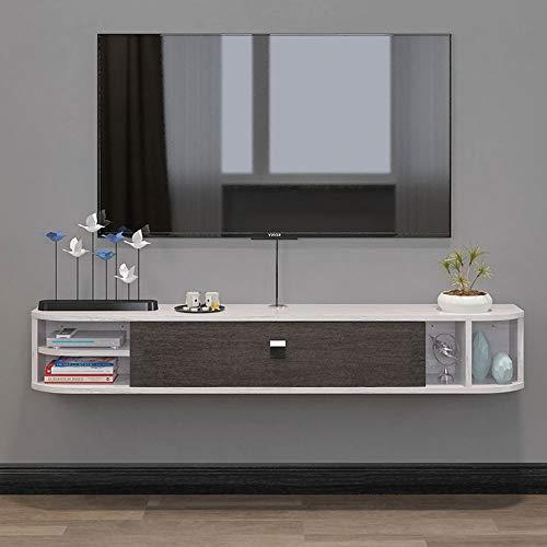Mueble TV, Flotante para TV Mueble Múltiples Colores para Elegir Mueble TV Madera Maciza, Modulo TV Salon, para Enrutador, Estante para CD, Libros, Plantas Verdes,Gray White