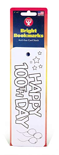 """Hygloss Products Happy 100th Day Bookmarks - White Bookmark with """"Happy 100th Day"""" on The Front - Fun to Personalize - Make Reading Fun - 2"""" x 6"""" - 100 Pack"""