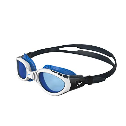Speedo Futura Biofuse FLX Gafas de Natación, Unisex Adulto, Gris óxido/Blanco/Azul, Talla Única